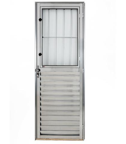 Porta de alumínio c/ grade 210x80