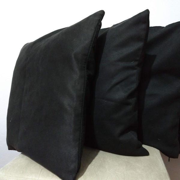 4 capas de almofada em suede pretas