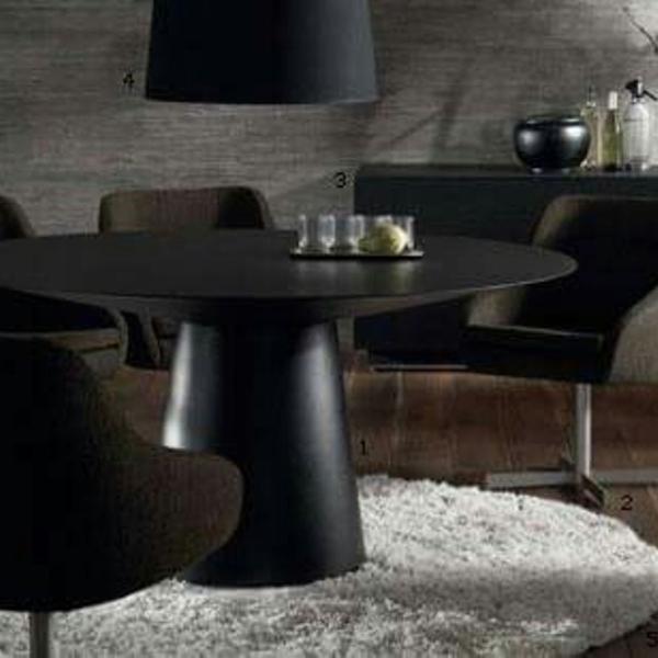 Mesa jantar design escandinavo redonda preta 1.52 sem