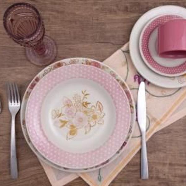Aparelho de jantar chá 30 peças biona - cerâmica redondo
