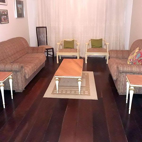 Conj. mesa centro, 2 laterais, madeira mármore rosa luiz