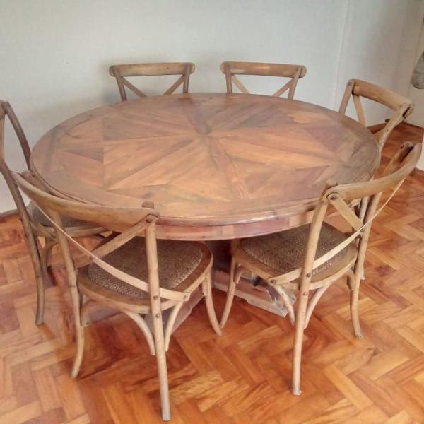 Conjunto mesa redonda estilo rustica bali!!!arraso