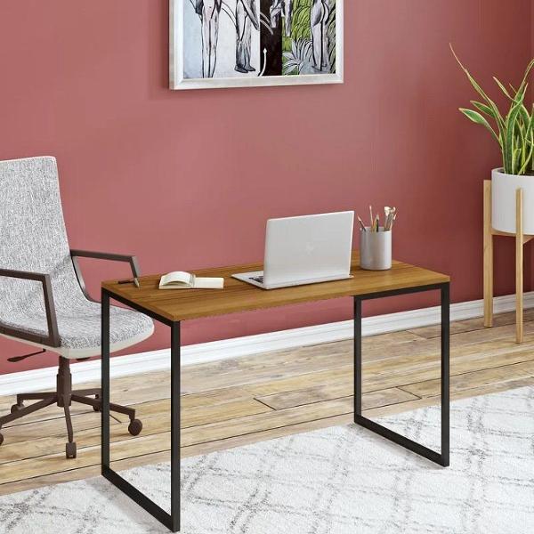 Escrivaninha/mesa gamer computador aço e madeira maciça
