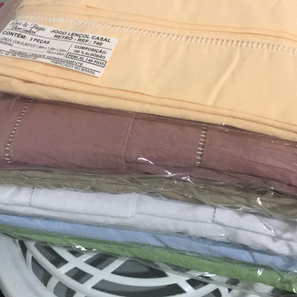Jogo lençol casal 100% algodão