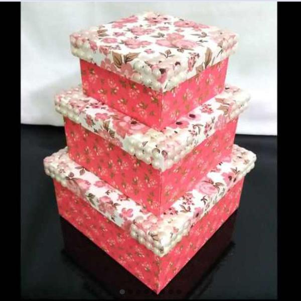 Kit caixas decoradas mdf - floral com pérolas - novas