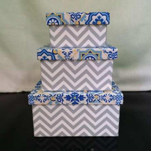 Kit de caixas decoradas mdf - azulejo português - novas