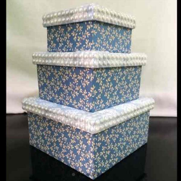 Kit de caixas decoradas mdf - tecido e pérolas - novas