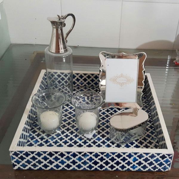 Kit decoração bandeja le lis blanc azul