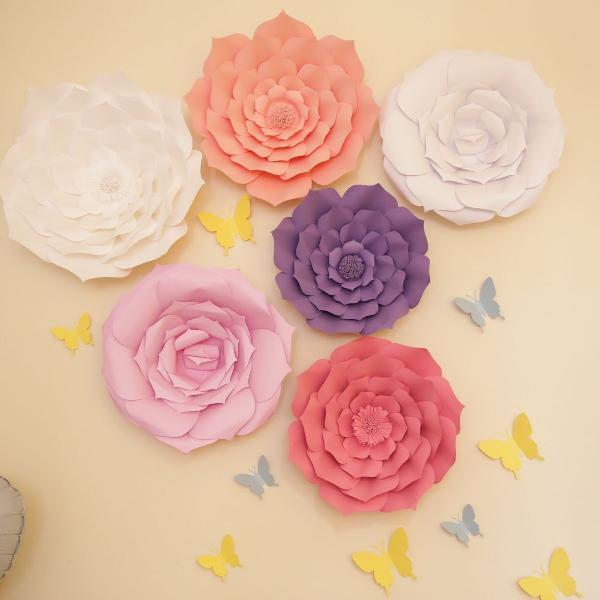 Kit flores em papel decoração festa jardim encantado