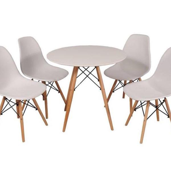 Kit mesa de jantar + 4 cadeiras brancas designer eames
