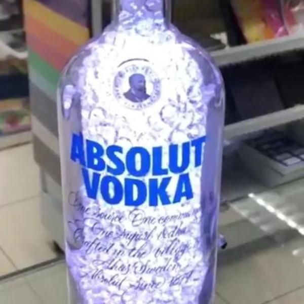 Luminária abajur garrafa absolut trad led controle remoto