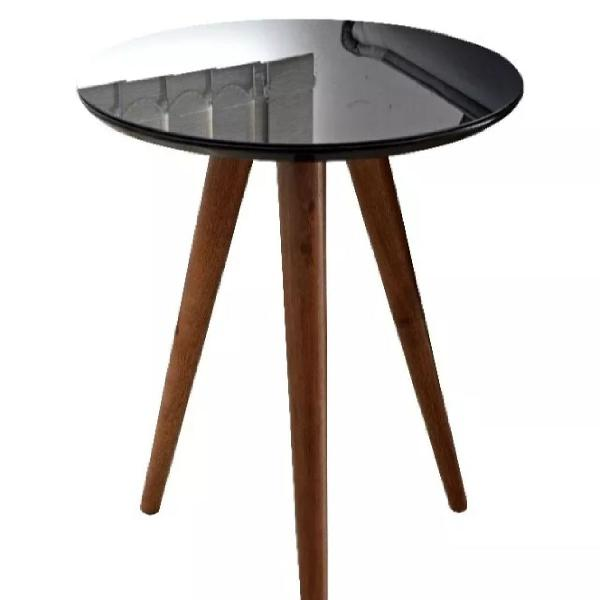 Mesa de canto alta laca brilho várias cores com vidro fixo