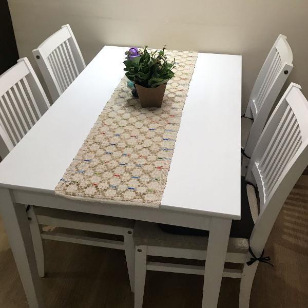 Mesa jantar com 4 cadeiras super nova, tok stok medida
