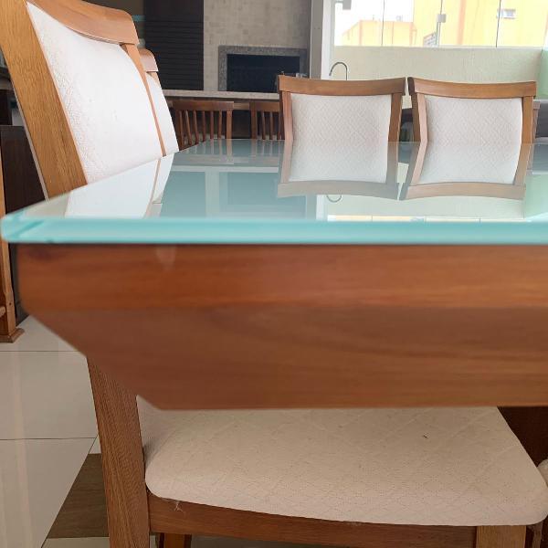 Mesa madeira e vidro 8 lugares