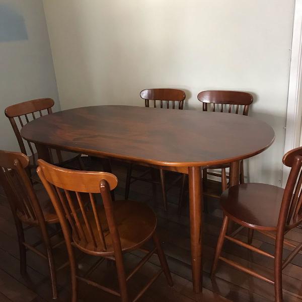 Mesa oval de jantar mogno + 6 cadeiras