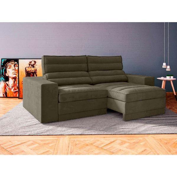Sofá 4 lugares retrátil e reclinável marrom