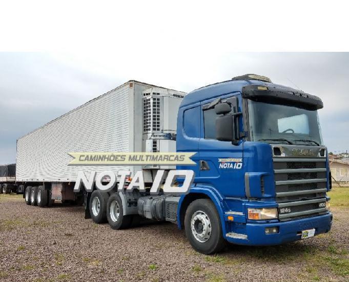 Scania r124 400 6x2 2002 com carreta frigorífica recrusul