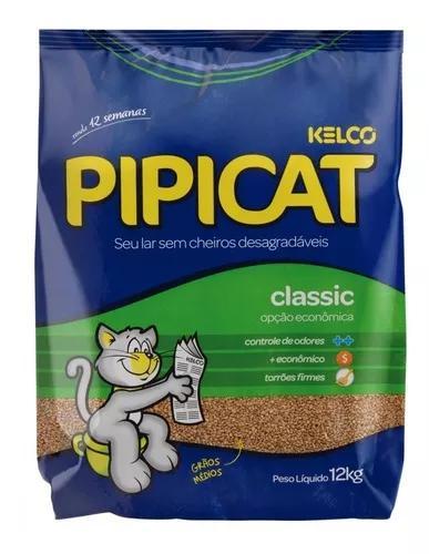 Areia sanitária para gatos pipicat classic 12kg