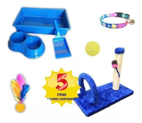 Kit caixa areia p/ gato + arranhador arco + brinquedos