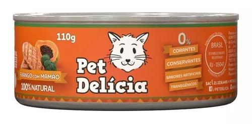 Ração úmida pet delícia gatos sabor frango com mamão -