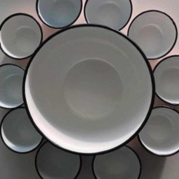 Conjunto de 11 tigelas de agatha pintada à mão