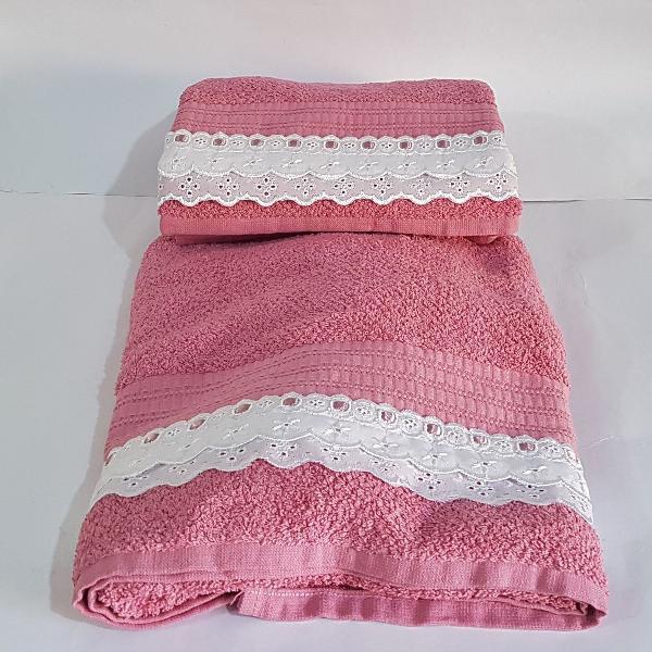 Jogo de toalhas banho + rosto 100% algodão