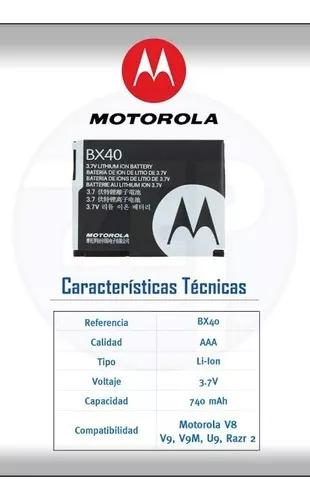 Bateria motorola original bx40 v8 v9 v9m u9 zn5 i9 nextel
