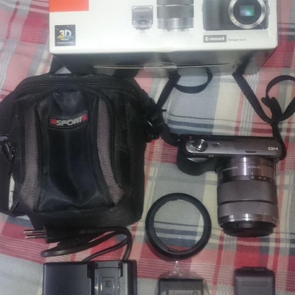 Câmera fotográfica sony nex c3 na caixa com bolsa