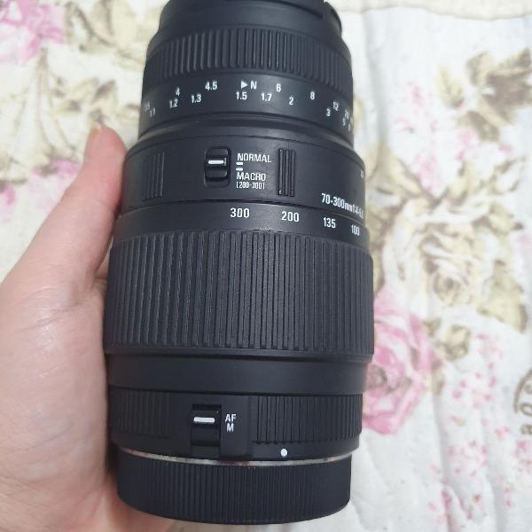 Lente zoom telefoto sigma dg macro 70-300mm 1:4-5.6