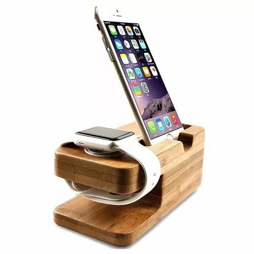 Suporte carregador dock madeira iphone 6s 7 8 x plus watch