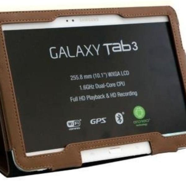 Case capa tablet couro sintético marrom café galaxy 10.1