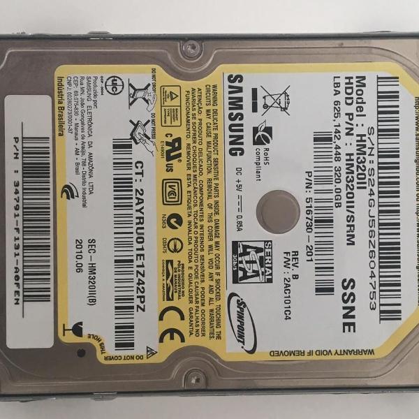 Hd notebook 320gb samsung hm320ji pn nw587