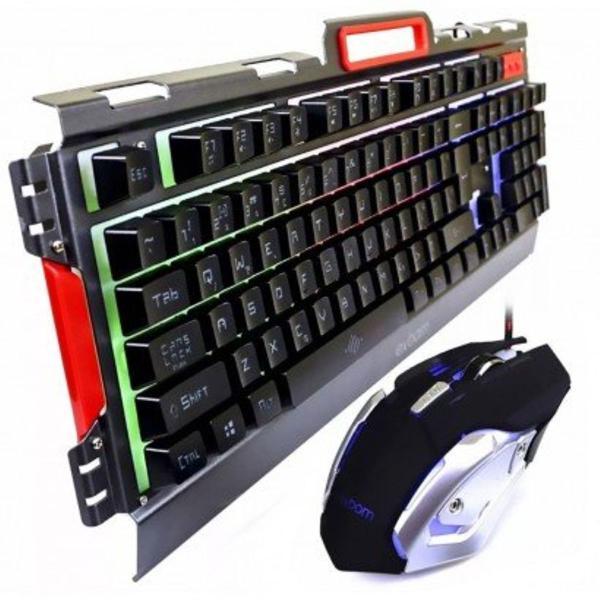 Kit teclado mouse gamer em metal semimecânico
