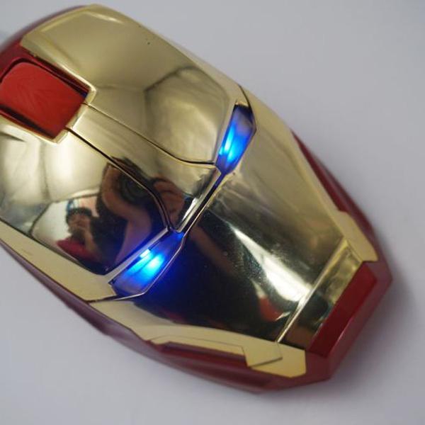 Mouse gamer sem fio homem de ferro led azul olhos marvel