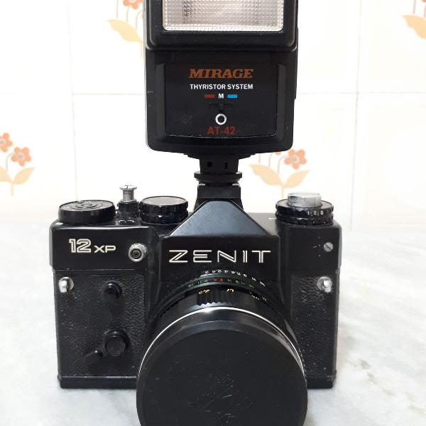 Máquina fotográfica antiga zenit 12xp + flash
