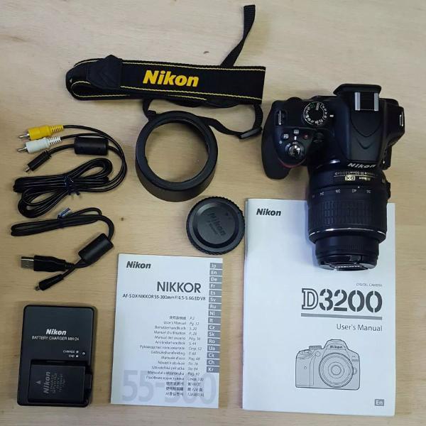 Nikon dslr d3200 completa na caixa