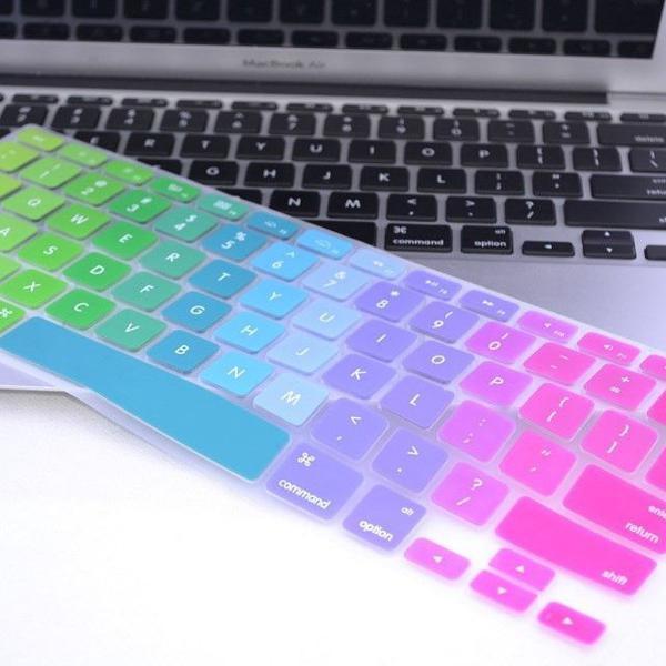Protetor teclado arco-íris colorido macbook air pro 13, 15,