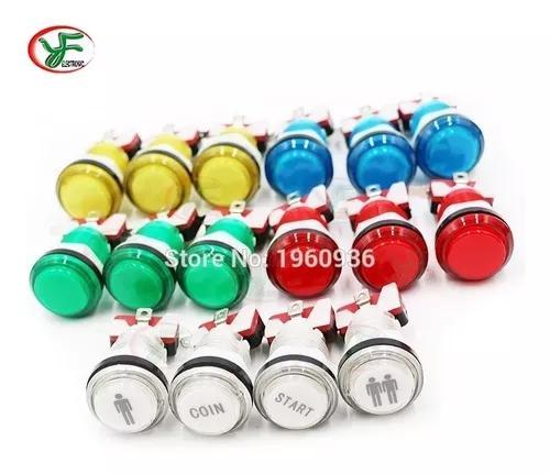16 botões led arcade 12v - raspberry pi - frete grátis