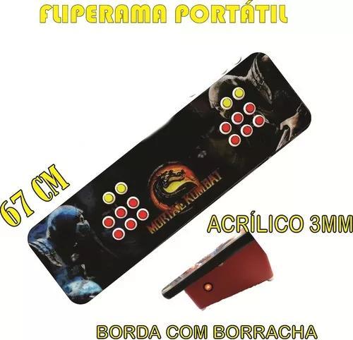 Caixa controle arcade fliperama duplo + adesivo e acrílico
