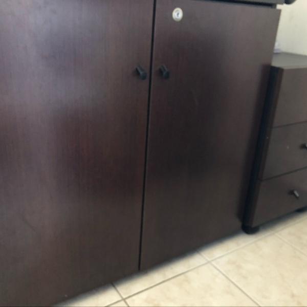 Armário escritório gaveteiro criado mudo madeira marrom
