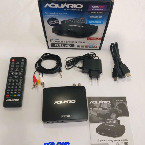 Conversor digital aquário dtv-7000 hdtv gravador + antena