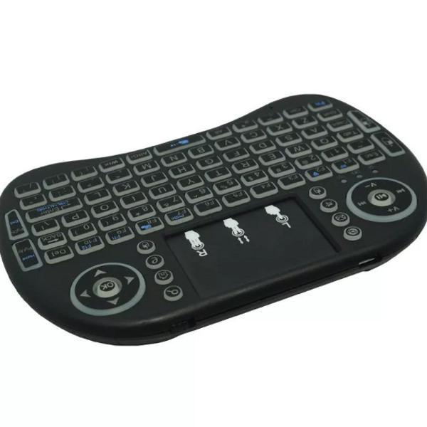 Mini teclado wireless bluetooth iluminado sem fio usb tv box