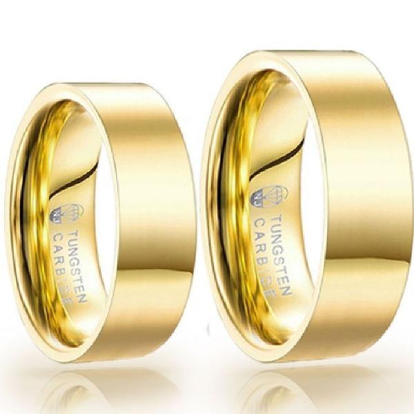 Aliança de tungstênio magnetizadas a ouro 18k
