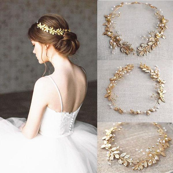 Arranjo dourado noiva casamento grinaldas flor folha pérola
