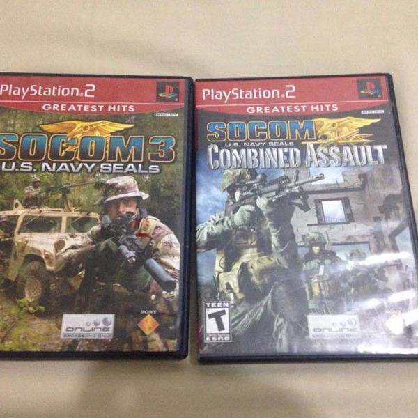Playstation 2 jogos socom navy seals e combined assault
