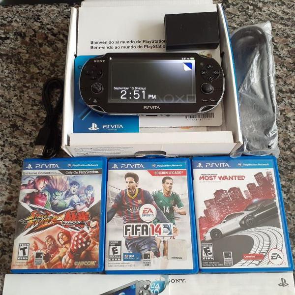 Ps vita original sony 4gb case e 3 jogos físicos