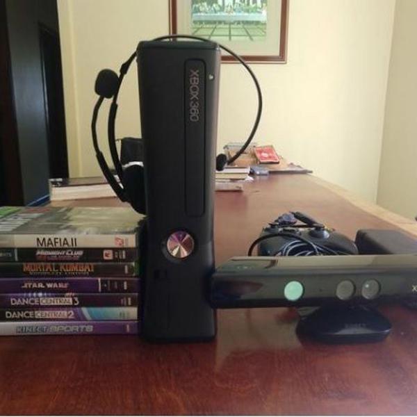 xbox 360 slim knect 128gb travado - 8 jogos originais e
