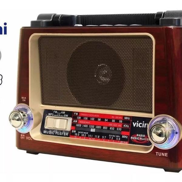 Rádio retro vintage am fm usb bateria recarregavel aux sd