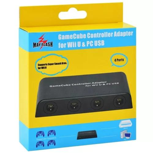 Adaptador 4 controles gamecube p/ wiiu, switch ou pc usb