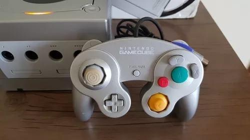 Controle de game cube prata original nintendo